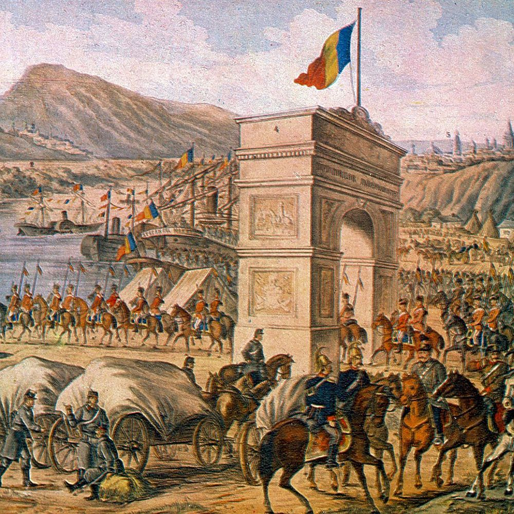 History of Romania, Romanian Army crossing the Danube to enter in Dobrogea, in 1878,Epic independence in Romanian art, Bucharest, 1977