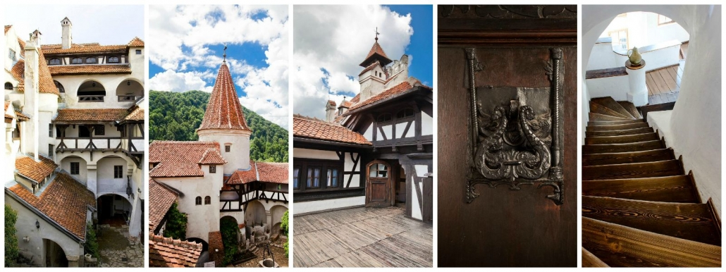 Bran Castle Interior view, stair, doors, balcons, roof view, day tour, copyright Bran Castle